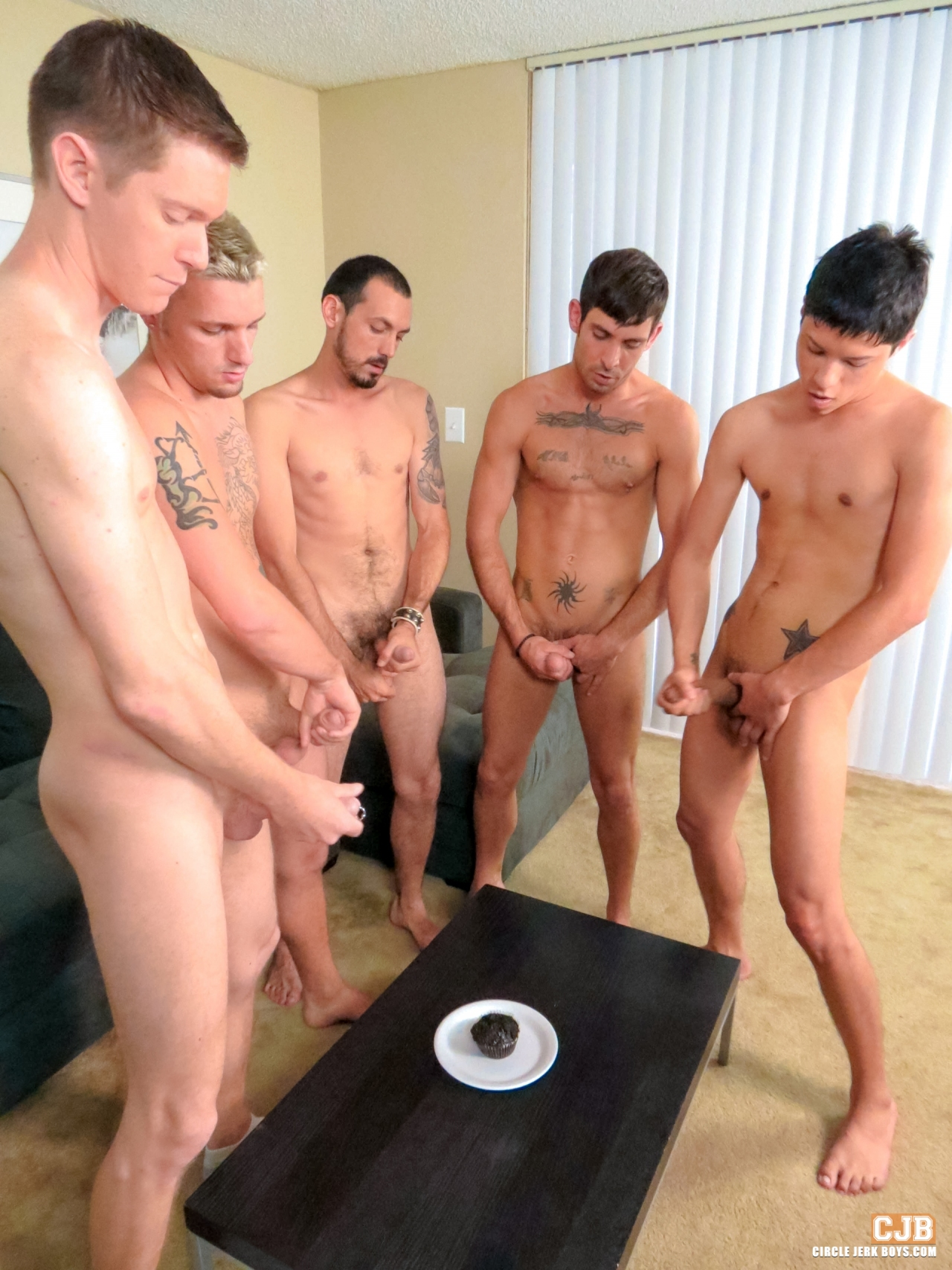 group of guys jerking together